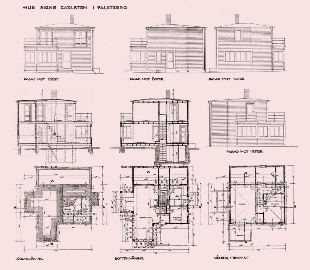Villa Carlsten, plan with extension towards north drawn on original drawing
