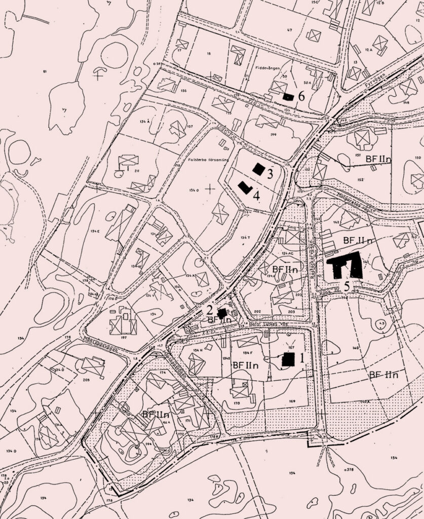 1. Villa Claëson, 2. Villa Carlsten, 3. Villa Seth, 4. Villa Låftman, 5. Villa Wehtje, 6. Ateljé Österling