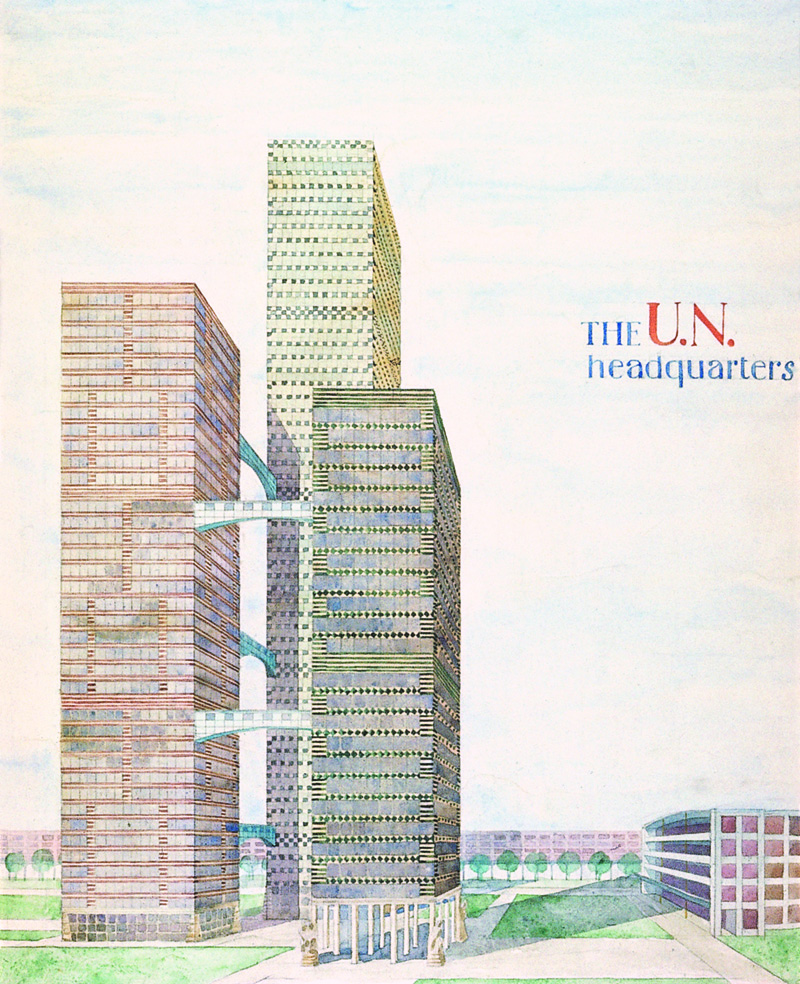 FN högkvarteret, New York, projekt, 1950-tal / The UN headquarters, New York, project, 1940s